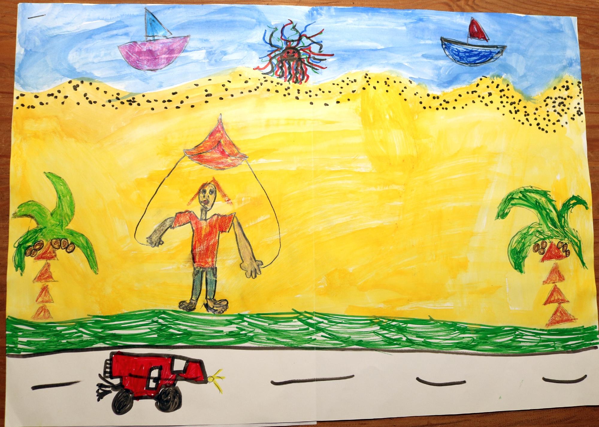 2020 Malwettbewerb Ich male gerne in der Coronazeit Bilder vom Urlaub und hoffe, dass ich bald wieder an den Strand darf (Laura 8 Jahre) web