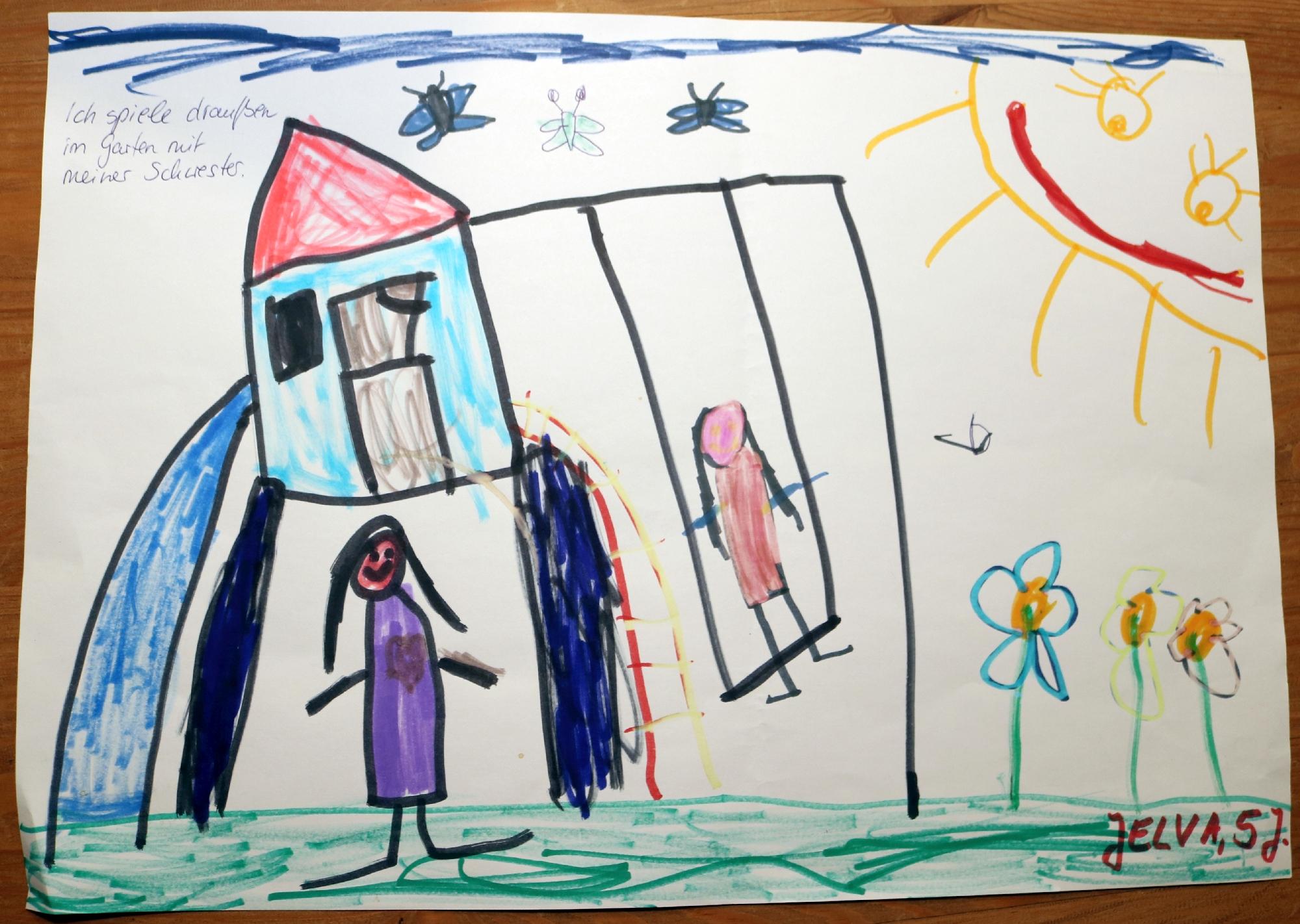 2020 Malwettbewerb Ich spiele im Garten mit meiner Schwester (Jelva 5 Jahre) web