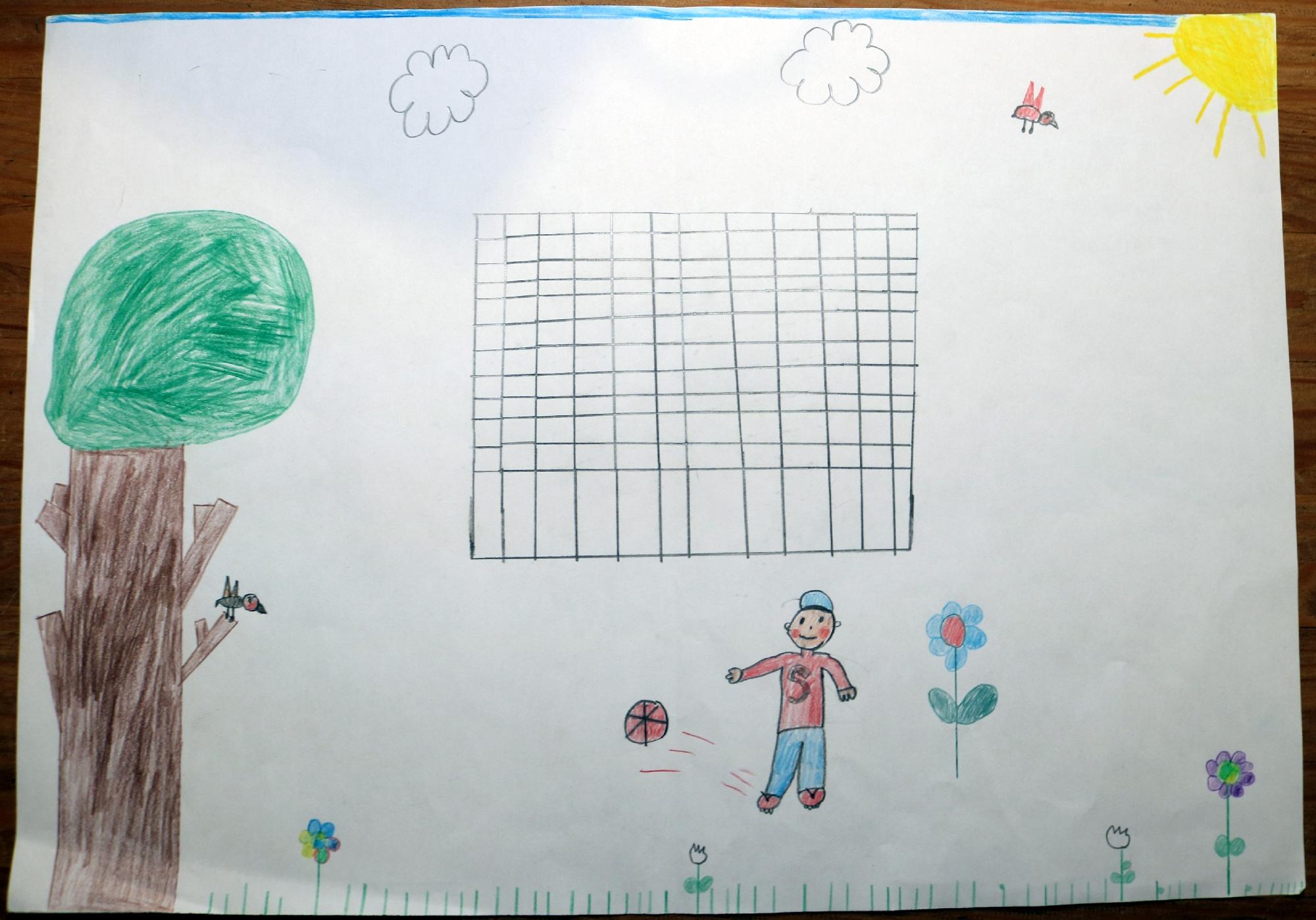 2020 Malwettbewerb Im schönen Garten spiele ich Fußball (Lelio 9 Jahre) web